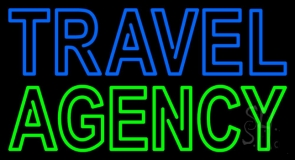Blue Travel Green Agency Neon Sign