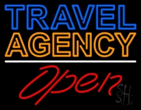 Blue Travel Orange Agency Open Neon Sign
