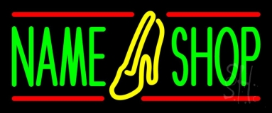 Custom Shoe Shop With Red Line Neon Sign