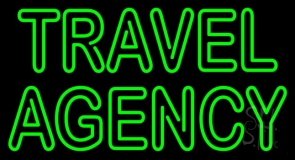 Double Stroke Green Travel Agency Neon Sign