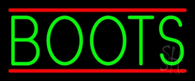 Green Boots With Line Neon Sign