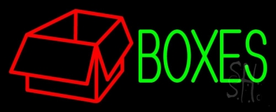 Green Boxes Red Logo Neon Sign