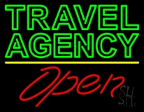 Green Travel Agency Open Neon Sign