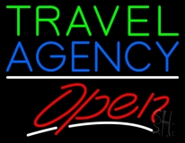 Green Travel Blue Agency Open Neon Sign