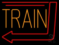 Orange Train With Arrow Neon Sign