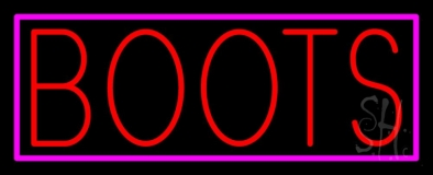 Red Boots Pink Border Neon Sign