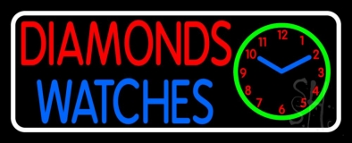 Red Diamonds Blue Watches Block Neon Sign