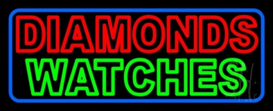 Red Diamonds Green Watches Neon Sign