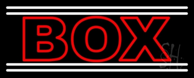 Red Double Stroke Box With White Line Neon Sign