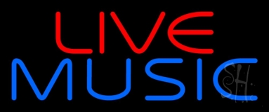 Red Live Blue Music Block 2 Neon Sign