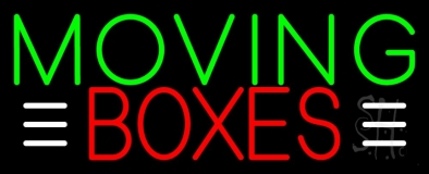 Green Moving Red Boxes Block Neon Sign