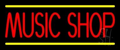 Red Music Shop Yellow Line Neon Sign