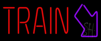 Red Train With Arrow Neon Sign