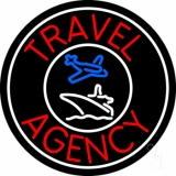 Red Travel Agency Logo With Border Neon Sign