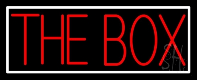 The Box Block With White Border Neon Sign