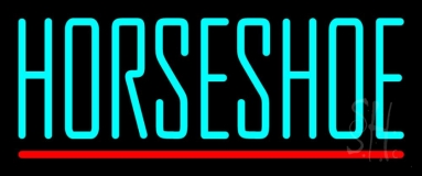 Turquoise Horseshoe Block Neon Sign