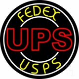 Ups Fedex Usps With Circle Neon Sign