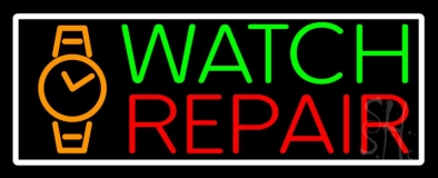 White Border Watch Repair With Logo Neon Sign