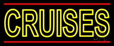 Yellow Cruises Red Line Neon Sign