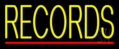 Yellow Records Red Line Neon Sign