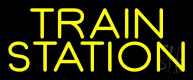 Yellow Train Station Neon Sign