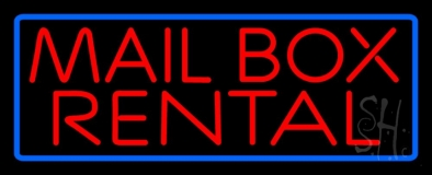 Block Mail Box Rental Blue Border Neon Sign