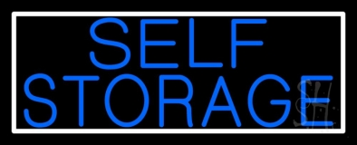 Blue Self Storage With White Border Neon Sign