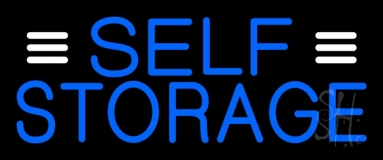 Blue Self Storage With White Line Neon Sign