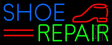 Blue Shoe Green Repair Neon Sign