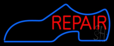 Blue Shoe Logo Red Repair Neon Sign
