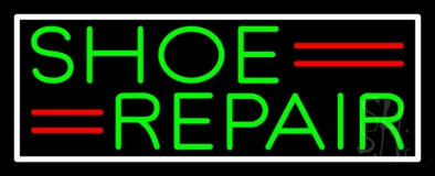 Green Shoe Repair White Border Neon Sign