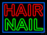 Double Stroke Hair Nail Blue Border Neon Sign