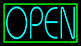 Turquoise Open Green Open Neon Sign