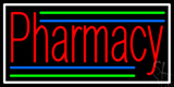 Red Pharmacy White Border Neon Sign