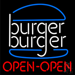 Burger Open Neon Sign