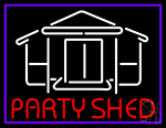 Party Shed With Blue Border Neon Sign