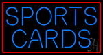 Blue Sports Cards Red Border Neon Sign