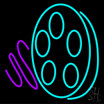 Movie Reel Icon Neon Sign