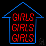 Girls Girls Girls Blue Arrow Neon Sign