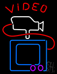 Video With Camera Tv Neon Sign