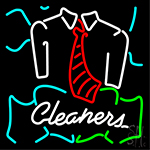 Blue Cleaners With Shirt Neon Sign