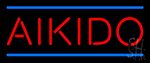 Aikido In Red With Blue Lines Neon Sign
