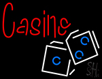Casino In Red With White And Blue Logo Neon Sign