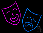 Drama Masks Blue And Purple Logo Neon Sign