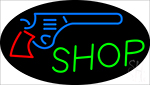 Gun Shop With Logo Neon Sign