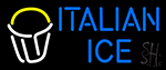 Italian Ice Rich Blue Text Dish Logo Neon Sign