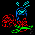 Rose With Beer Glass Neon Sign