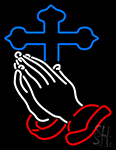 Praying Hands Blue Cross Neon Sign