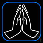 Praying Hands Vector Icon Neon Sign