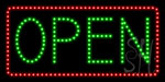 Open Green Border and Red Letters LED Sign